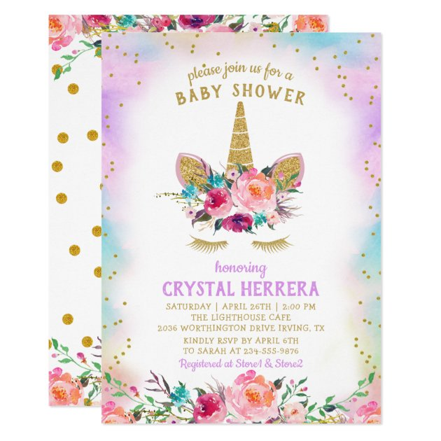 Pink & Gold Unicorn Beautiful Floral Baby Shower Card