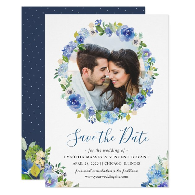 Navy Blue Hydrangeas Floral Wreath Save the Date Card