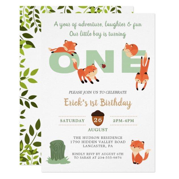 Woodland Forest Fox First Birthday Invitation