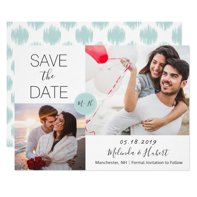 Chic Mint Monogram Wedding Save The Date Photo Card (front side)