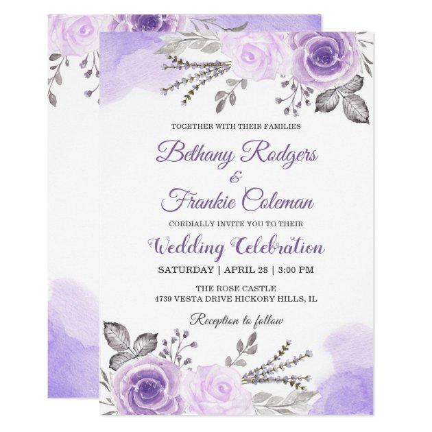 Chic Pastel Purple Floral Watercolor Wedding Card