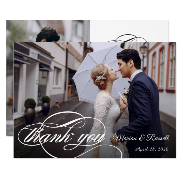 Stylish White Calligraphy Wedding Photo Thank You Card