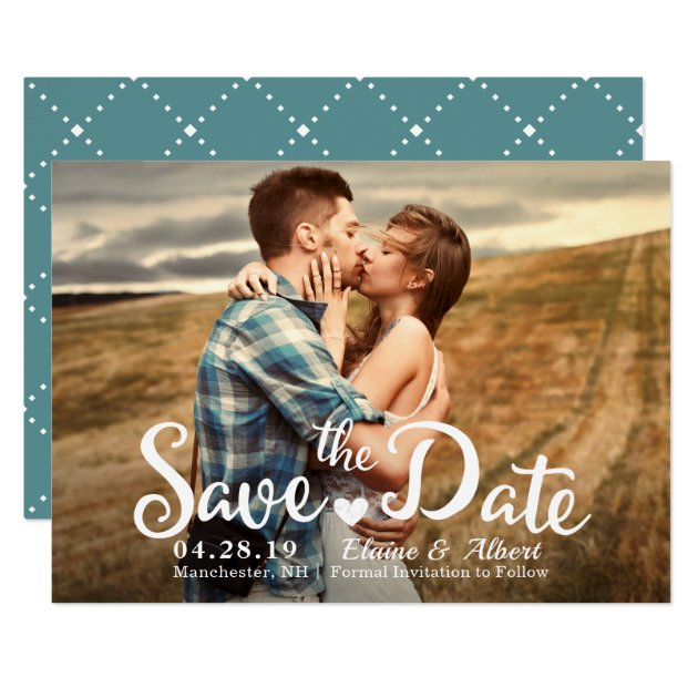 Modern Script Teal Wedding Save The Date Photo Card