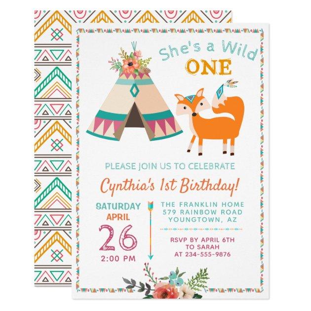 Woodland Wild One Fox Boho Teepee 1st Birthday Card