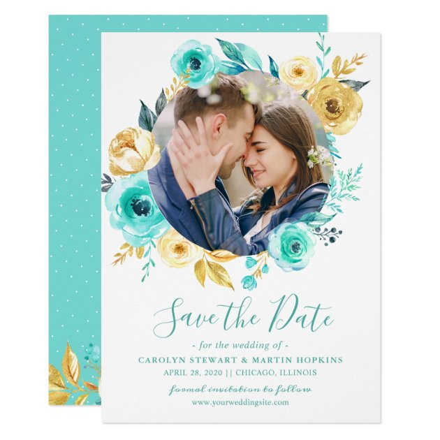 Tiffany Gold Floral Wreath Photo Save the Date Card
