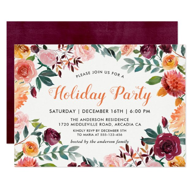Burgundy Orange Pink Flowers Holiday Party Card