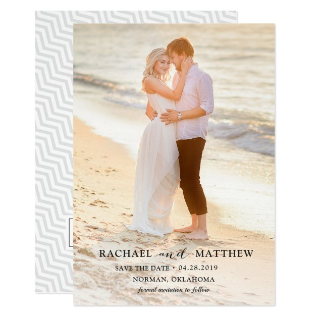 Simply Stylish Gray Wedding Save The Date Photo Card