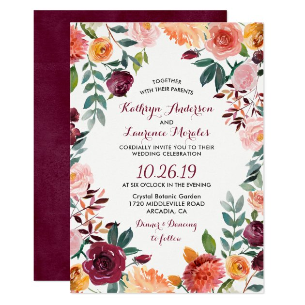 Marsala Blush Pink Botanical Flower Wreath Wedding Card