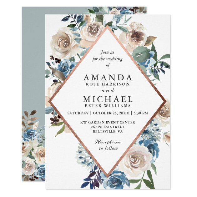 Boho Dusty Blue Rustic Floral Rose Gold Wedding Invitation