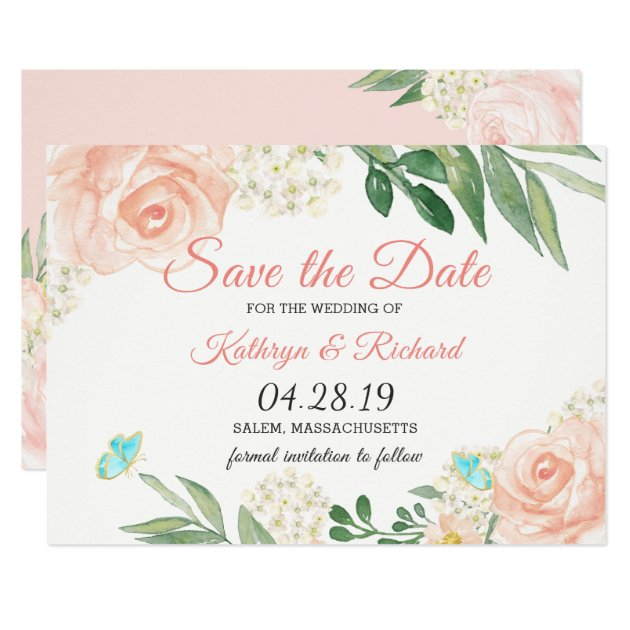 Spring Blush Peach Floral Watercolor Save The Date Card
