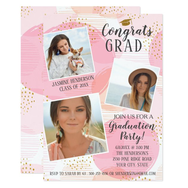 Graduation Party Photo Collage Blush Pink Trendy Card