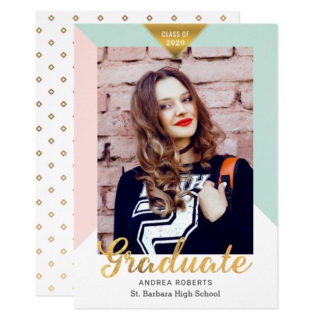 Modern Geometric Gold Look Grad Photo Graduation Card