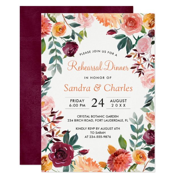 Marsala Pink Botanical Rehearsal Dinner Card