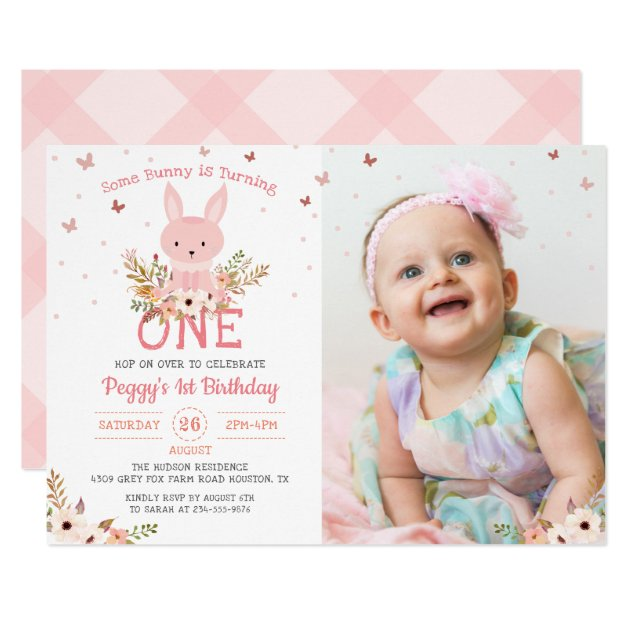 Some Bunny Girl 1st Birthday Butterfly Photo Card (front side)
