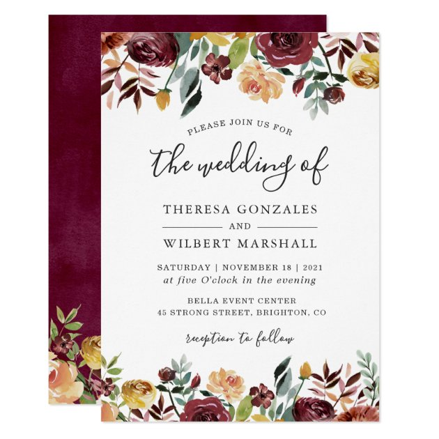 Autumn Red Orange Botanical Floral Fall Wedding Invitation