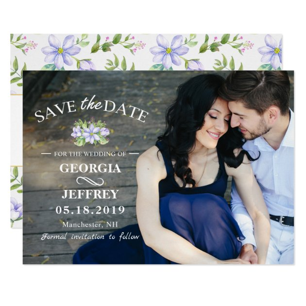 Elegant Purple Garden Wedding Save The Date Photo Card (front side)