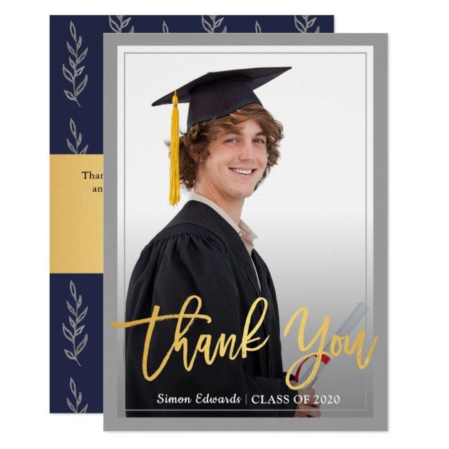 Gold Script Gray & Blue Graduation Photo Thank You Card