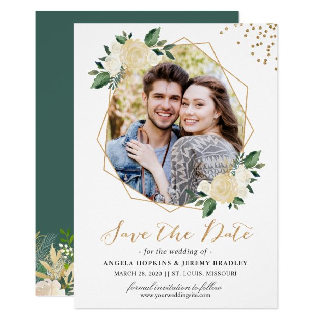 Modern Gold Ivory Green Floral Photo Save the Date Card