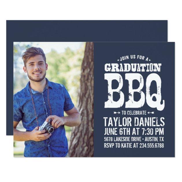 Rustic Graduation Photo BBQ Invite Custom Color