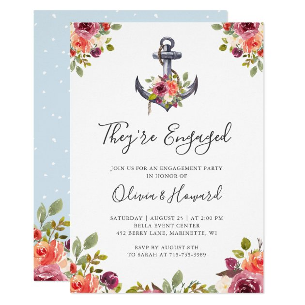 Nautical Anchor Floral Modern Engagement Party Card