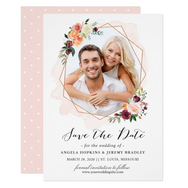 Modern Geometric Bloom Floral Photo Save the Date Card