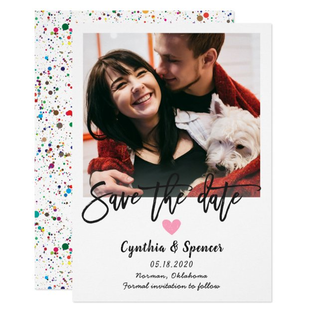 Simple Typography Confetti Save The Date Photo Card