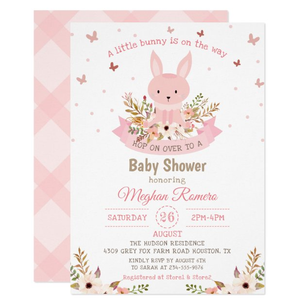 Adorable Pink Bunny with Flowers Baby Shower Card