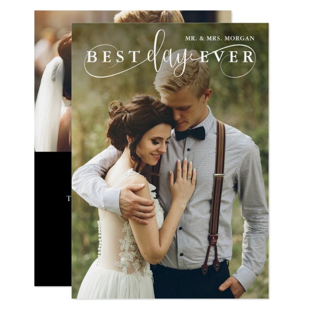 Best Day Ever Modern Wedding Photo Thank You Card