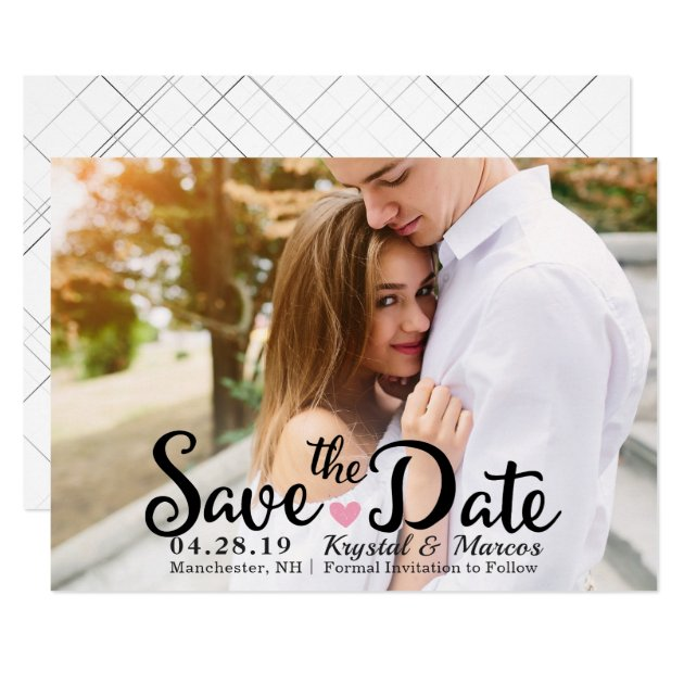 Chic Script White Elegant Save The Date Photo Card