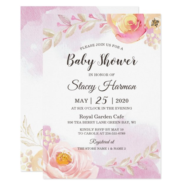 Spring Girly Pink Gold Blossom Flowers Baby Shower Card