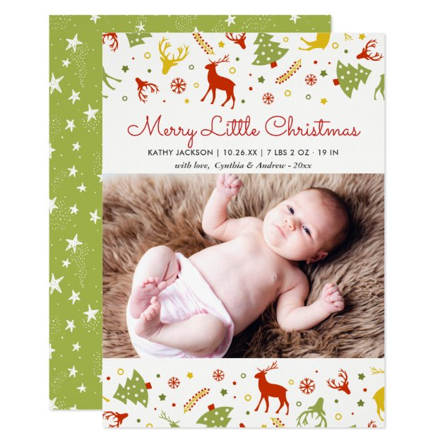 New Born Baby First Christmas Lovely Cute Photo Card