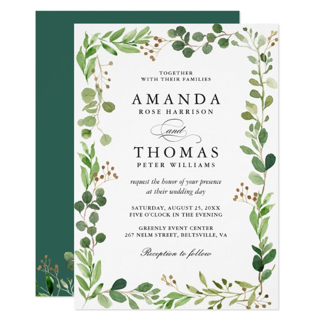 Eucalyptus Green Leaves Border Frame Chic Wedding Invitation