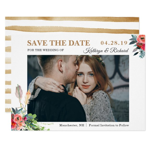 Chic Rustic Bohemian Floral Save The Date Photo Card