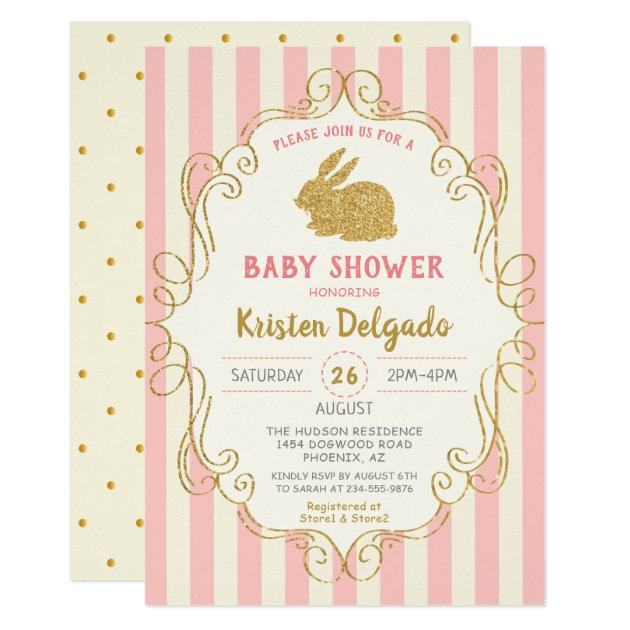 Sweet Bunny Pink Gold Glitter  Baby Shower Card (front side)