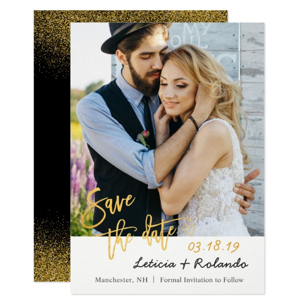 Modern Black & Gold Wedding Save The Date Photo Card