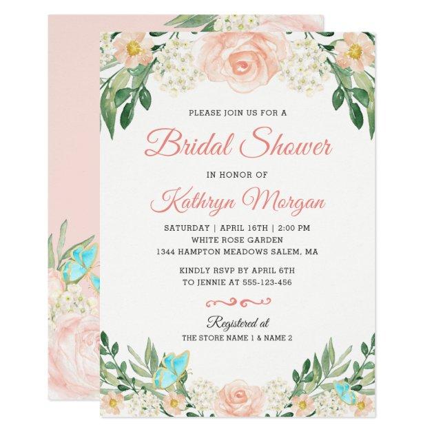 Romantic Blush Peach Floral Blossom Bridal Shower Card