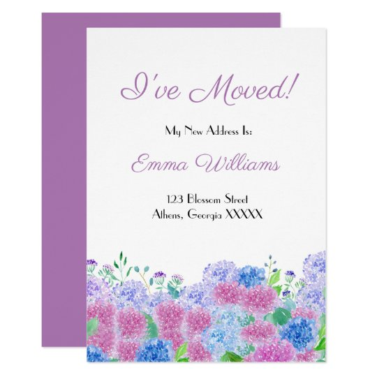 Watercolor Pink & Blue Hydrangeas I've Moved Invitation