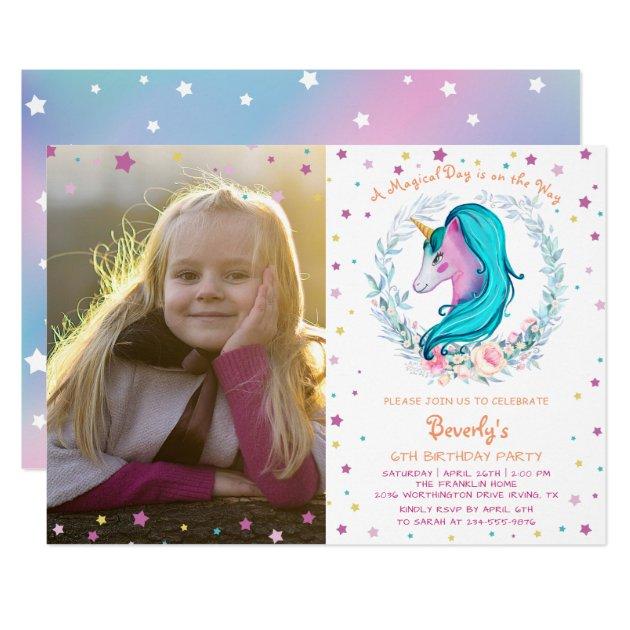 Elegant Unicorn Watercolor Floral Photo Birthday Card