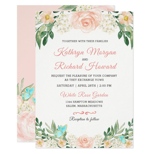 Spring Blush Peach Rose Garden Watercolor Wedding Card