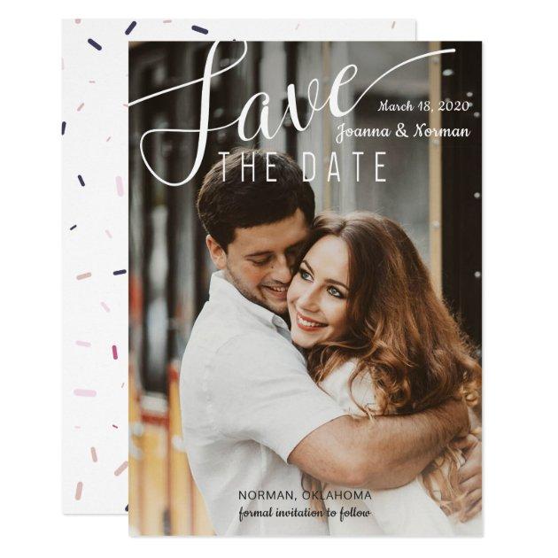 Elegant White Script Confetti Save The Date Photo Card