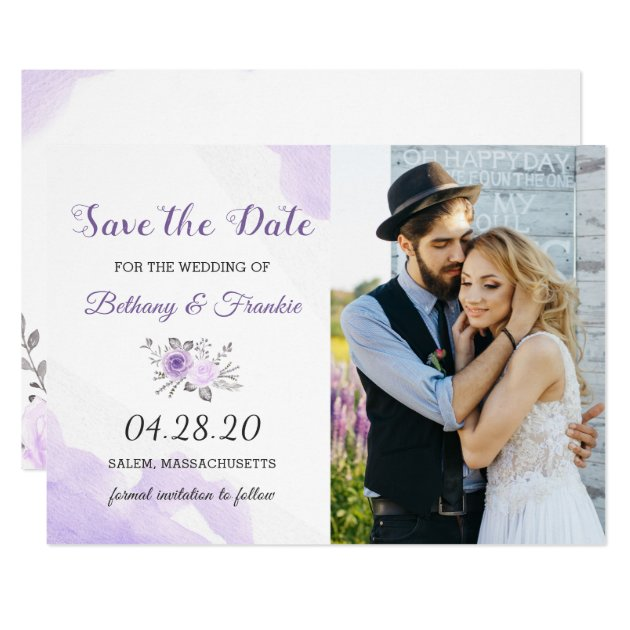 Elegant Pastel Purple Floral Save The Date Photo Card