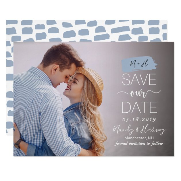 Modern Blue Monogram Wedding Save The Date Photo Card (front side)