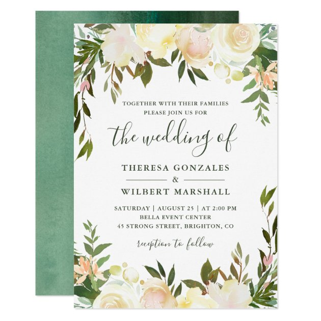 Neutral White Greenery Watercolor Floral Wedding Card