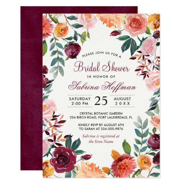 Marsala Blush Pink Watercolor Flower Bridal Shower Card