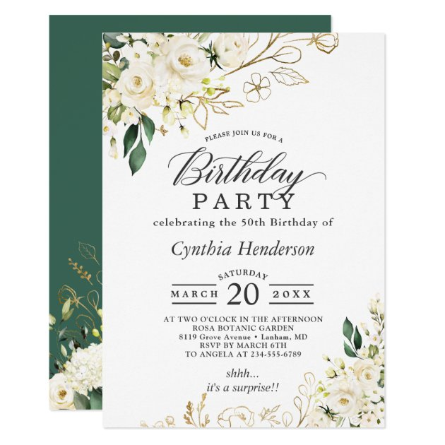 Greenery White Rose Floral Adult Birthday Party Invitation