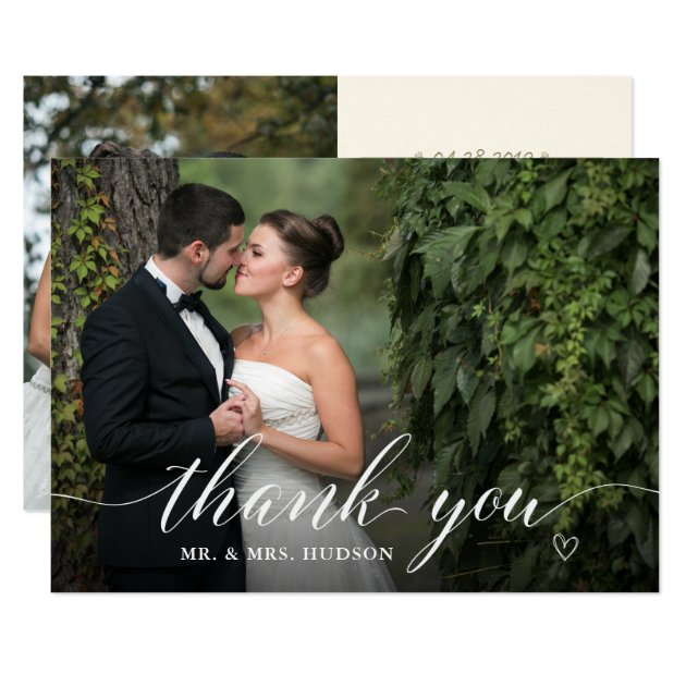 Stylish White Script Wedding Photo Thank You Card (front side)