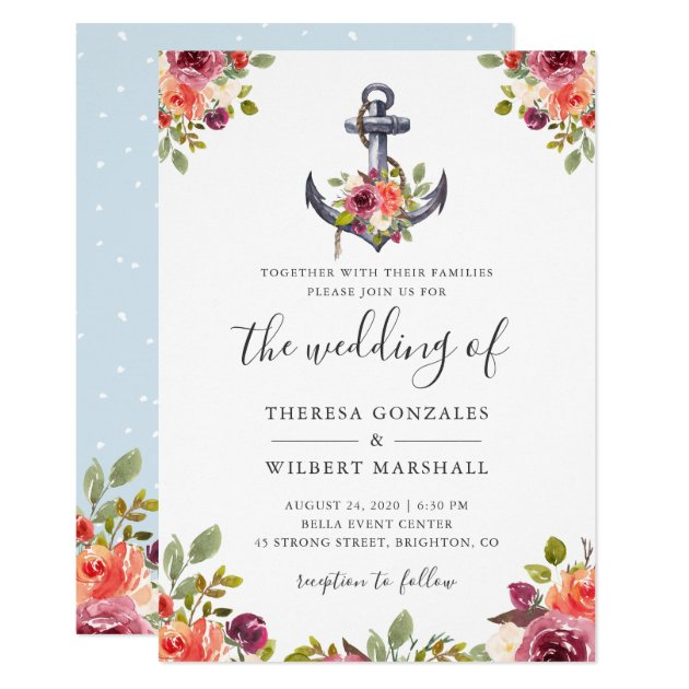 Nautical Floral Anchor Watercolor Wedding Card