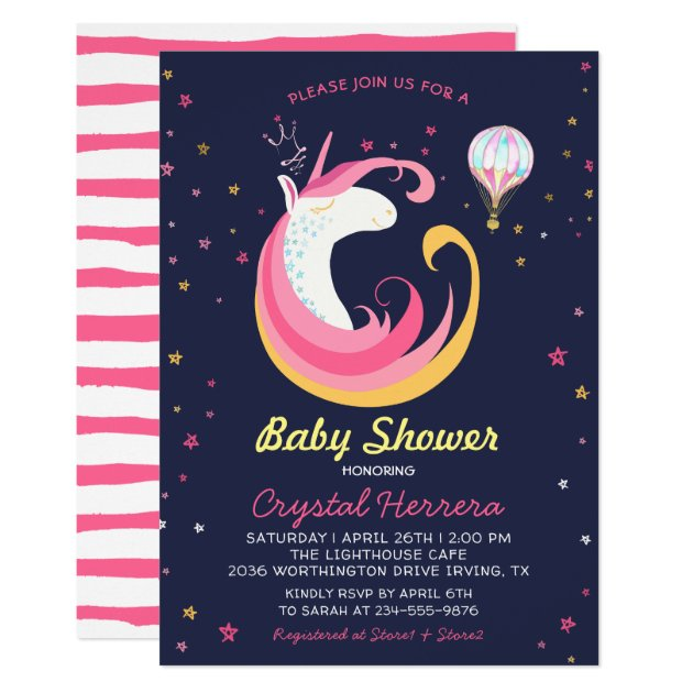 Dream Unicorn & Hot Air Balloon Baby Shower Card