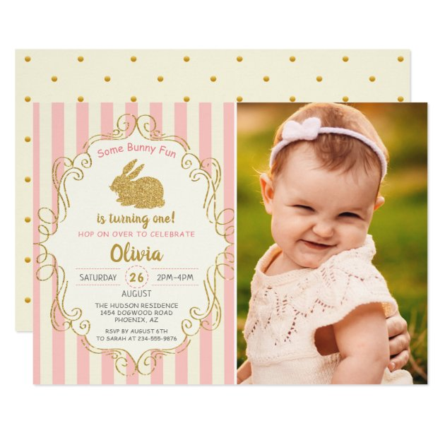 Some Bunny Pink & Gold Glitter Birthday Photo Card (front side)
