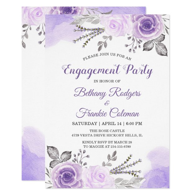 Spring Chic Pastel Purple Flowers Engagement Party Card
